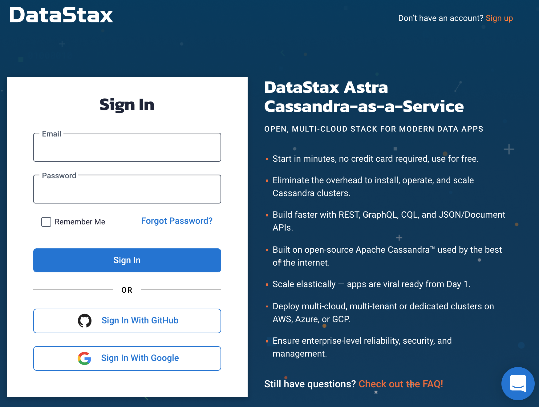 Astra Sign Up Page